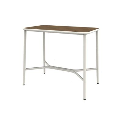 Yard counter table with heat-treated ash top; 120x70cm top Matt White/Thermotreated Ash