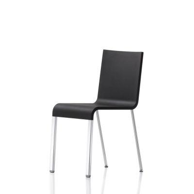 .03 Four-leg Chair - Non Stacking powder-coated silver, 01 Basic Dark, 04 Glides for Carpet