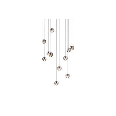 14.11 Rectangular Pendant Chandelier Amber, LED, Wet