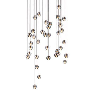 14.36 Square Pendant Chandelier Amber, LED, Wet