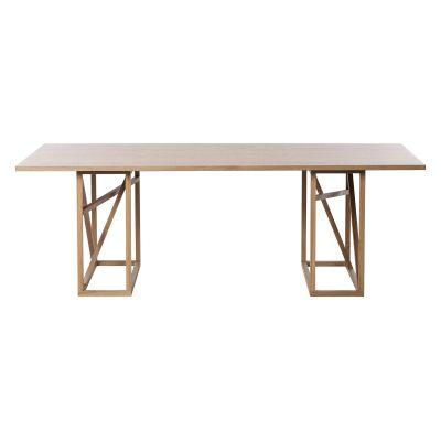 1x1 Trestle - Dining Table Oak/Powder Linoleum Top