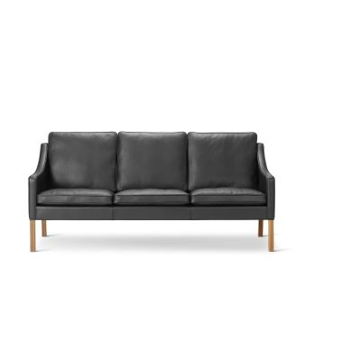 2209 Sofa - 3 Seater Oak no finish, Leather 75 Cognac