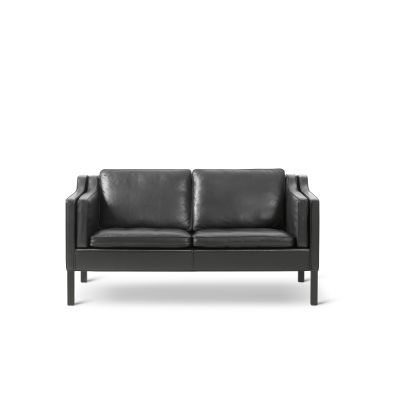 2212 Sofa - 2 Seater Oak no finish, Leather 75 Cognac