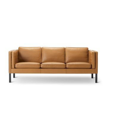 2333 Sofa - 3 Seater Oak Black Lacquered, Nubuck 501 Light sand