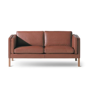 2335 Sofa - 2 1/2 Seater Oak Black Lacquered, Leather 70 Beige