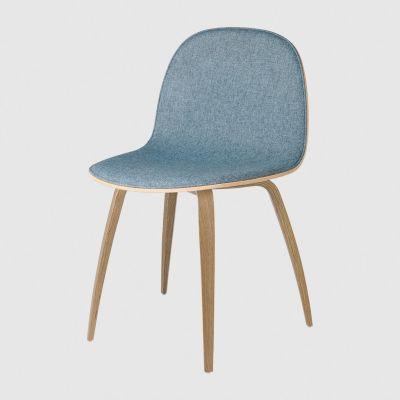 2D Dining Chair Wood Base - Front Upholstered Gubi Wood American Walnut, Melange Nap 111