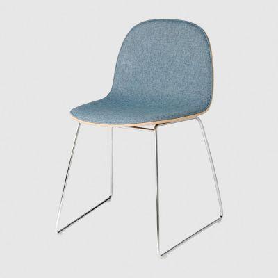 2D Sledge-Base Dining Chair Front Upholstered Gubi Wood American Walnut, Melange Nap 111, Gubi Metal Chrome