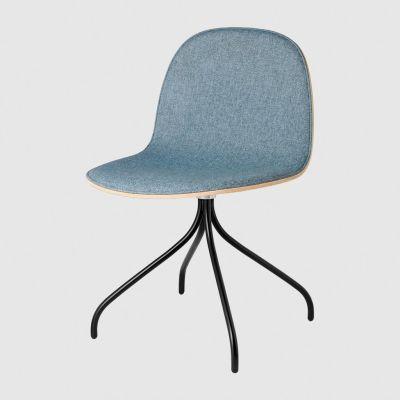2D Swivel-base Dining Chair Front Upholstered Shell Gubi Wood American Walnut, San 130, Gubi Metal Chrome