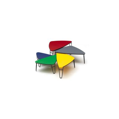 519 Petalo Occasional Table Matt Black Base, Lacquered Red Top, 115 cm