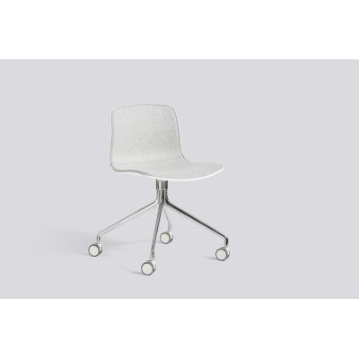 About A Chair AAC14 with front upholstery Leather Silk SIL0197 Cream, White, Polished Aluminium