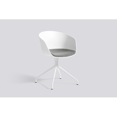 About A Chair AAC20 with fixed seat upholstery Leather Silk SIL0197 Cream, Black Bowder Coated Aluminium, White