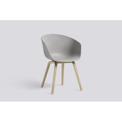 About A Chair AAC22 Grey Seat, Matt Lacquered Oak Bsse