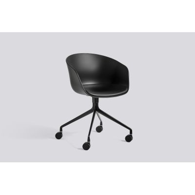 About A Chair AAC24 with fixed seat upholstery Leather Silk SIL0197 Cream, White, Polished Aluminium