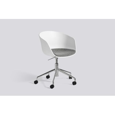 About A Chair AAC52 with fixed seat cushion Leather Silk SIL0197 Cream, White, Polished Aluminium