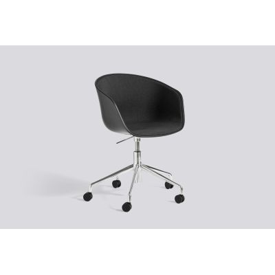 About A Chair AAC52 with front upholstery Leather Silk SIL0197 Cream, White, Polished Aluminium