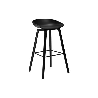 About A Stool AAS32 Black Stained Oak Base, Black Seat, Low, Stainless Steel