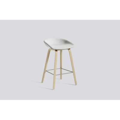 About A Stool AAS33 Low Stool, Matt Lacquered Oak Legs Leather Sierra SI1012 White