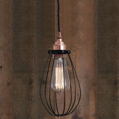 Abuja Pendant Light Polished Copper with Black Cage 200mm cable