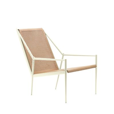Acciaio Lounge Small Armchair Red RAL 3020, Dark Brown Hide
