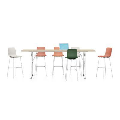 Ad Hoc Solitaires High Meeting Rectangular Table Melamine soft light, Aluminium powder-coated soft light