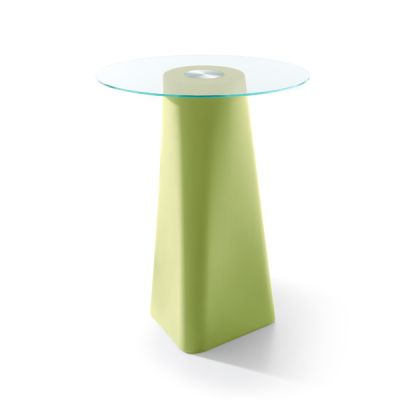 Adam High Table Pastel Green, Clear Crystal Glass