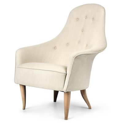Adam Lounge Chair Leather Silk SIL0197 Cream, Gubi Wood Black Matt Lacquered Oak