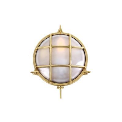 Adoo Marine Nautical Wall Light Natural Brass, Frosted Glass
