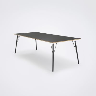 Air Dining Table Black Linoleum, Black Stained Solid Oak, 240cm