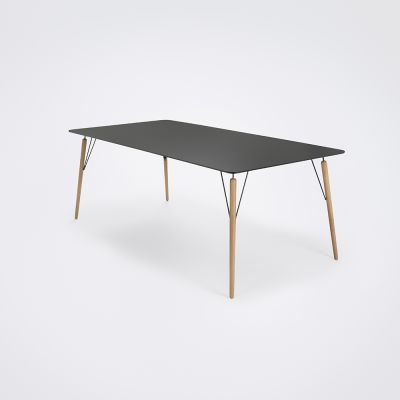 Air Dining Table Black Linoleum, Oiled Oak, 205cm