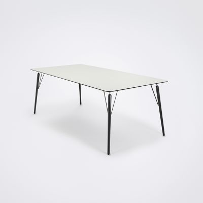 Air Dining Table White Laminate, Black Stained Solid Oak, 205cm