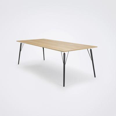 Air Dining Table Oiled Oak Veneer, Black Stained Solid Oak, 240cm