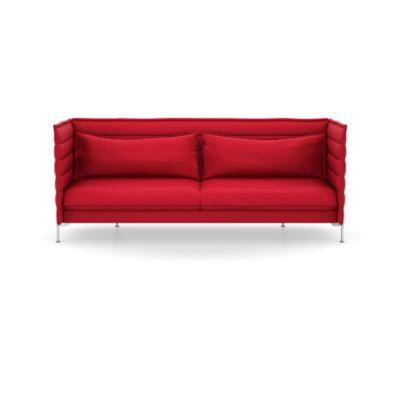 Alcove Three-Seater, Lounge Upholstery Credo 11 cream/dolphin, 01 chrome
