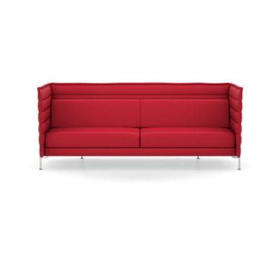 Alcove Three Seater, Work Upholstery Credo 11 cream/dolphin, 01 chrome