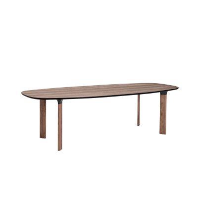 Analog Dining Table Large, Walnut Veneer, Black Trumpet/Oak