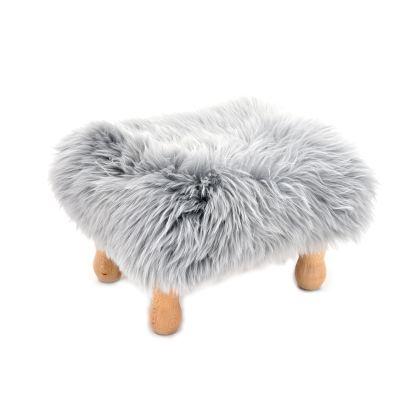 Angharad sheepskin Footstool  Silver