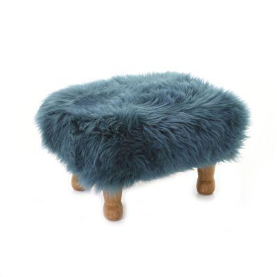 Anwen Sheepskin Footstool  Teal