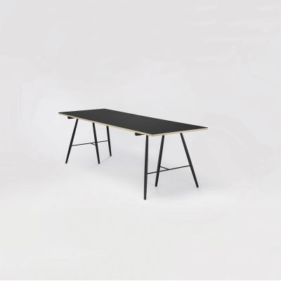 Atlas Dining Table Black Linoleum, Black Stained Solid Oak, 160cm