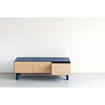 AV Unit 2 Drawers & 1 Door Oak, Petrol Blue
