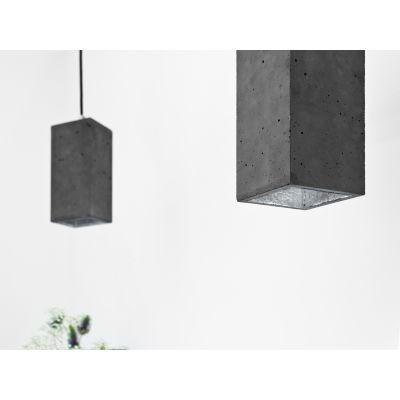 [B2] Pendant Light Rectangular Dark Grey Concrete, Silver Plating