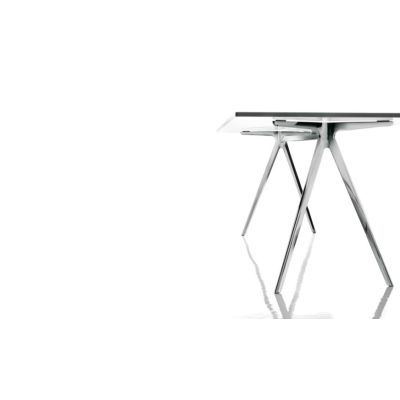Baguette Dining Table White Carrara Marble, Polished Aluminium, 160cm