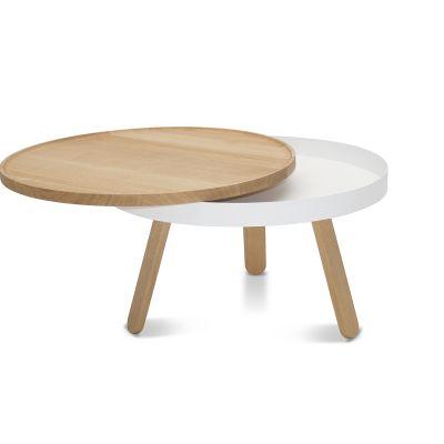 Batea M - Coffee table with storage Oak & White