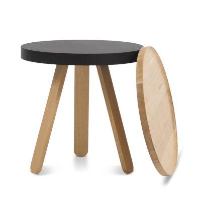 Batea S - Tray table Oak & Black