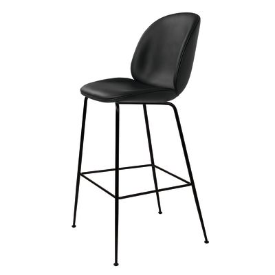 Beetle Bar Chair - Fully Upholstered Gubi Leather Black, Frame Black-Chrome, Black Fabric