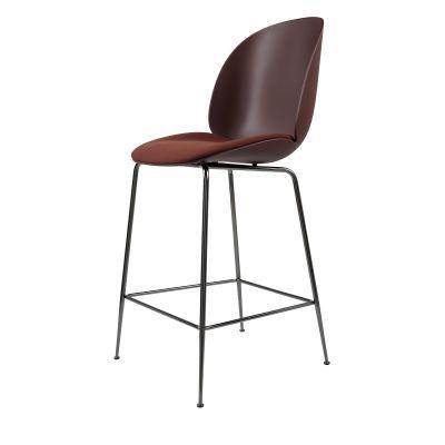 Beetle Bar Chair - Seat Upholstered Shell Plastic Dark Pink, Leather Silk SIL0197 Cream, Frame Matt Black