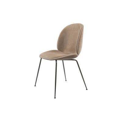 Beetle Dining Chair - Conic Base - Fully Upholstered Gubi Velvet Fawn Beige, Frame Matt Black, Matching Fabric