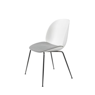 Beetle Dining Chair - Conic Base - Seat Upholstered Shell Melange Nap 991, Frame Black-Chrome, Plastic White