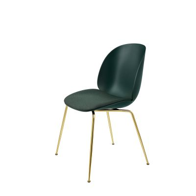 Beetle Dining Chair - Conic Base - Seat Upholstered Shell Dunes 21001 Dark Brown, Frame Chrome, Plastic Dark Pink