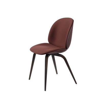 Beetle Dining Chair - Wood Base - Front Upholstered Shell Plastic White, Gubi Leather Tan, Gubi Wood Smoked Oak