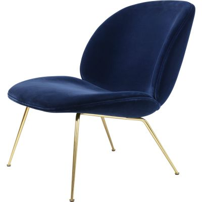Beetle Lounge Chair - Conic Base - Fully Upholstered Matching Fabric, Dunes 21001 Dark Brown, Frame Chrome