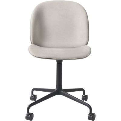 Beetle Meeting Chair - 4-Star Base W/ Castors Front Upholstered Black / Polished Aluminium, Dark Pink, Dunes 21001 Dark Brown